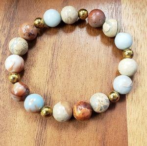 African Opal & Gold Hematite Beads Bracelet